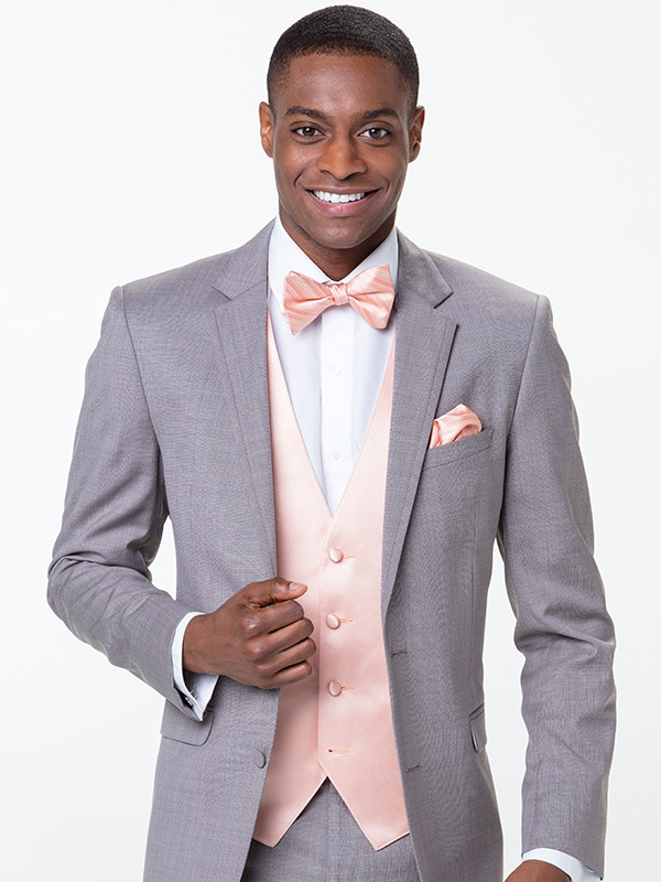 Modern Solid Vest with Tonal Stripe Bow Tie and Pocket Square