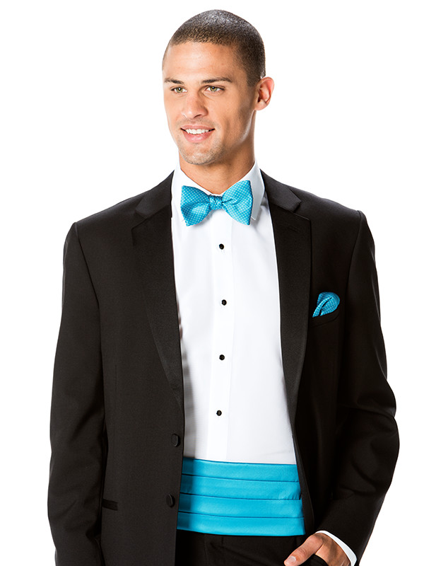 Solid Cummerbund with Modern Dot Bow Tie and Pocket Square