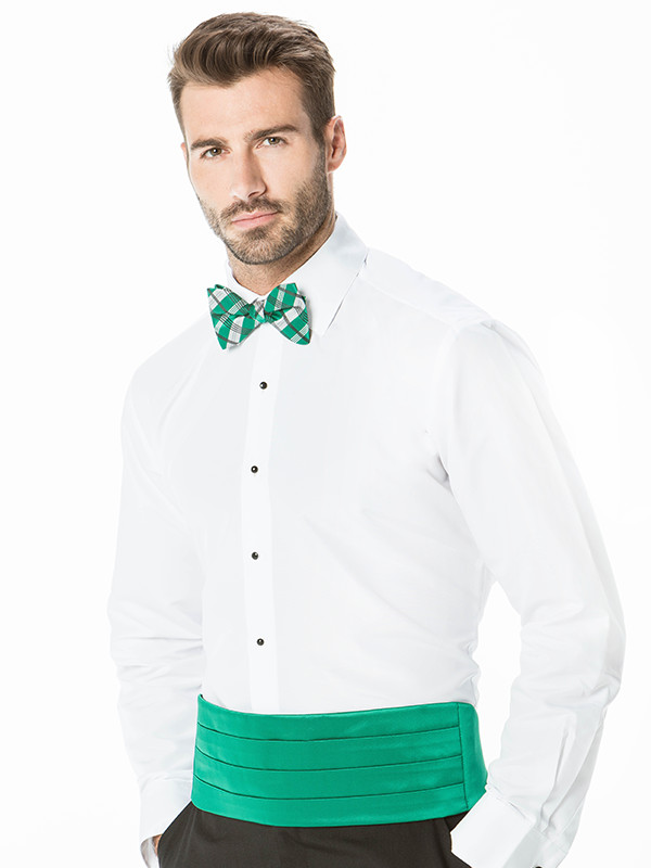 Solid Cummerbund with Solid Plaid Bow Tie