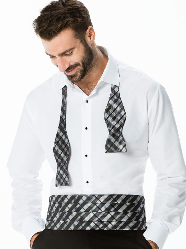 Solid Plaid To-Tie Bow Tie with Cummerbund