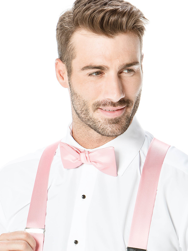 Modern Solid Hand Knot Bow Tie with Solid Suspenders
