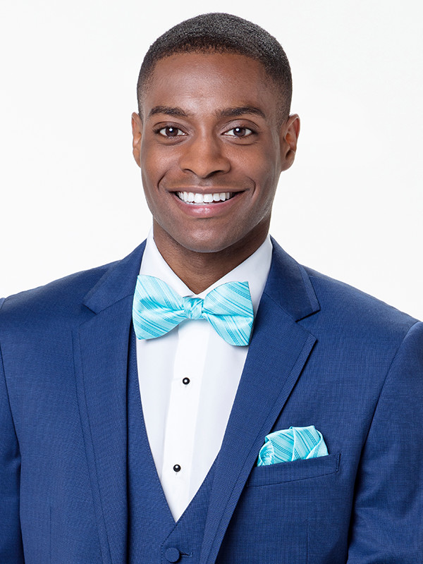Tonal Stripe Bow Tie and Pocket Square