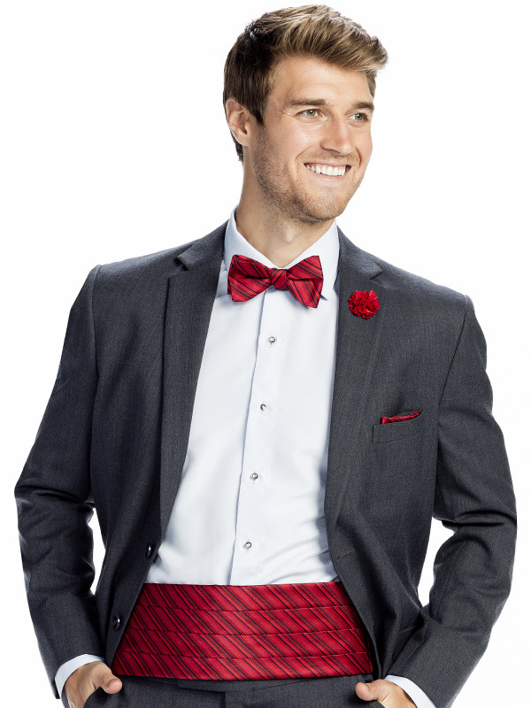 Tonal Stripe Bow Tie, Pocket Square, and Cummerbund with Solid Lapel Pin