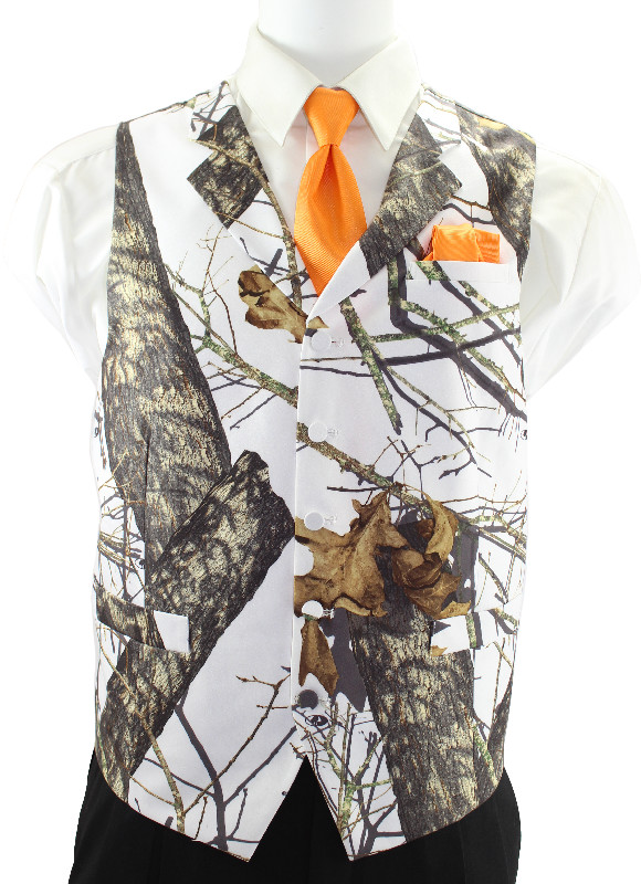 Mossy Oak Winter Break Up® 2•4•1 Vest with Orange Windsor Tie and Pocket Square