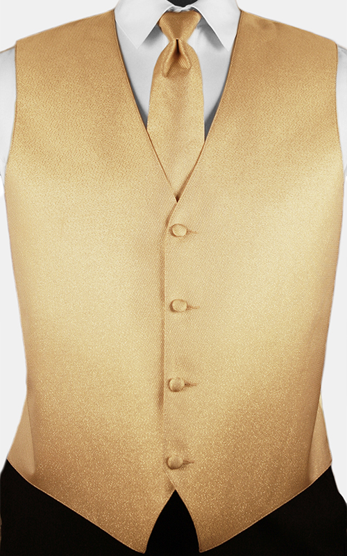 Gold Starlight Lamé Vest & Windsor Tie