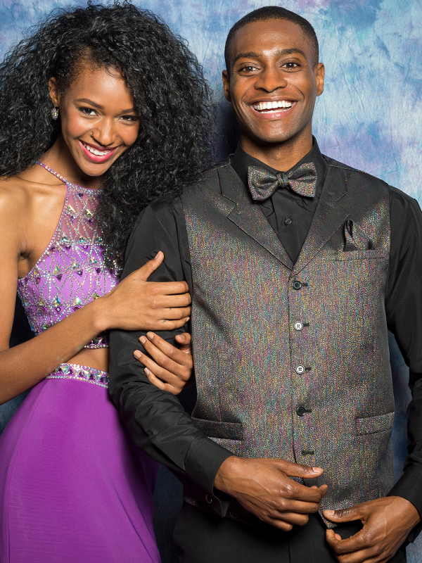 Black Rainbow Starlight Lamé Vest with Matching Bow Tie and Pocket Square